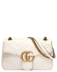 Gucci Medium Gg Marmont 20 Tricolor Matelasse Leather Shoulder Bag White
