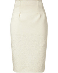 Kenzo Quilted Cotton Blend High Waisted Pencil Skirt