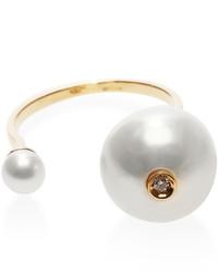 Delfina Delettrez 18k Gold And Double Pearl Ring
