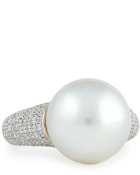 Belpearl Avenue Ring With White Pearl Pave Diamonds