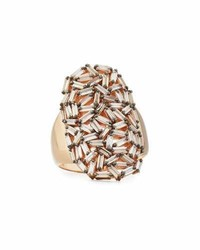 Suzanne Kalan Champagne Diamond Baguette Cluster Statet Ring In 18k Rose Gold Size 65