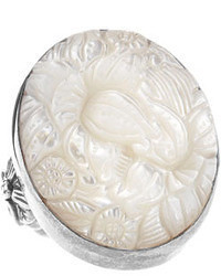 Stephen Dweck Floral Carved Mother Of Pearl Oval Ring