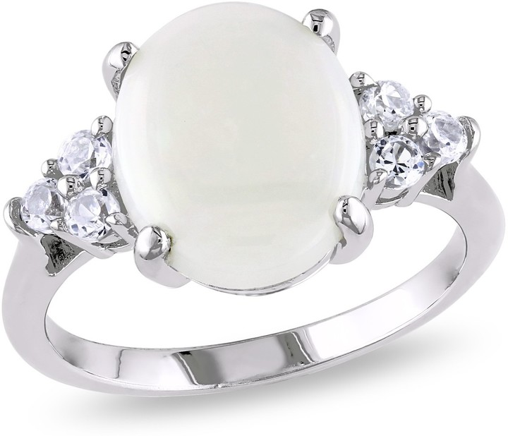 3 carat opal and created white sapphire sterling