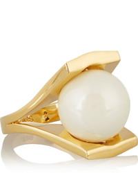 Lele Sadoughi Pinball Gold Plated Faux Pearl Ring