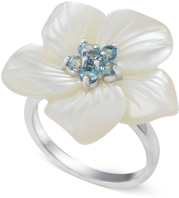 Mother of pearl sterling silver ring white and blue topaz flower mother of pearl sterling silver ring white and blue topaz flower ring mightylinksfo