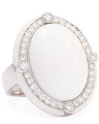 Ivanka Trump White Agate Quartzite Cabochon Cocktail Ring With Diamonds