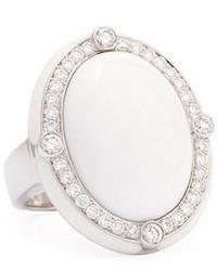 Ivanka Trump White Agate Quartzite Cabochon Cocktail Ring With Diamonds