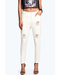 Boohoo Sara Ripped Turn Up Boyfriend Jeans