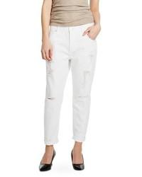 Mossimo Mid Rise Boyfriend Crop Jeans White