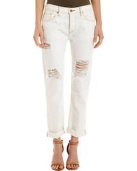 white ripped boyfriend jeans - Jean Yu Beauty
