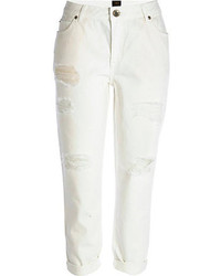 River Island White Ashley Slim Boyfriend Jeans