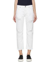 Edit White Distressed Boyfriend Jeans
