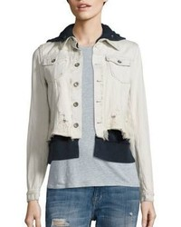 Free People Layered Distressed Denim Jacket