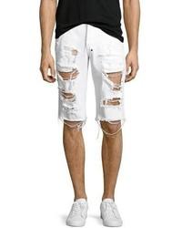 PRPS Big Splash Ripped Denim Shorts White