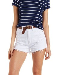 Charlotte Russe Machine Jeans Distressed Denim Shorts