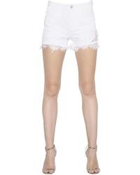 Ermanno Scervino Lace Patches Frayed Cotton Denim Shorts