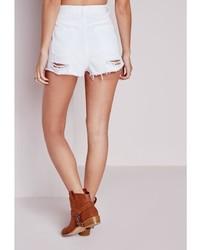 Missguided Ripped Hem High Waist Denim Shorts White