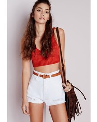 Missguided Ripped Hem High Waist Denim Shorts White | Where to buy ...