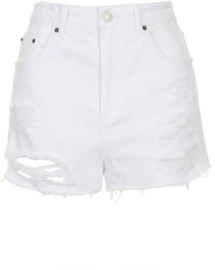 b61f5290d3 Topshop Moto White Ripped Mom Shorts, $58 | Topshop | Lookastic.com