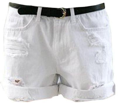 ChicNova Oversize Distressed White Denim Shorts With Roll Up Hem ...