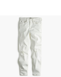 J.Crew 9 Destroyed High Rise Toothpick Crop Jean In White