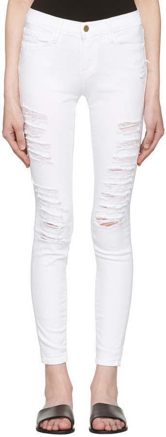 Frame Frame Denim White Le Color Ripped Jeans | Where to buy & how ...
