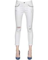 Ermanno Scervino Ripped Embellished Cotton Denim Jeans