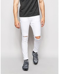 Pull Bear Super Skinny Jeans In White With Rips 30 Asos Lookastic