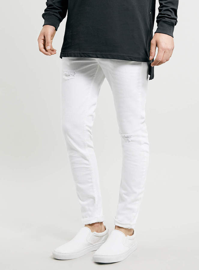 Topman White Ripped Stretch Skinny Jeans | Where to buy & how to wear