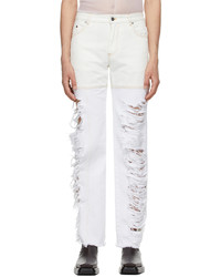 Peter Do White Asymmetric Combo Rip Jeans