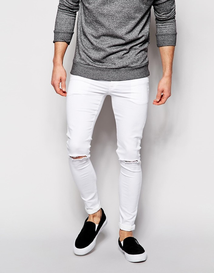 Men&39S White Super Skinny Jeans - Jon Jean