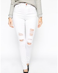 White shredded skinny jeans