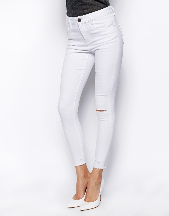 e5ce35d4bdb ... Asos Ridley Jeans Asos Ridley Skinny Ankle Grazer Jeans In White With  Ripped Knees And Raw ...