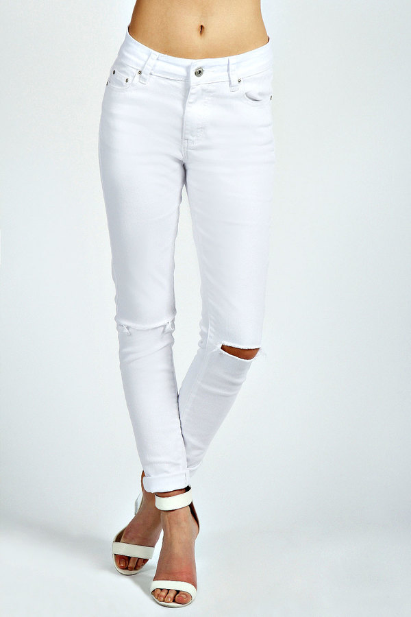 Skinny White Ripped Jeans | Bbg Clothing