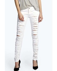 Boohoo Evie Low Rise Shredded Leg Skinny Jeans