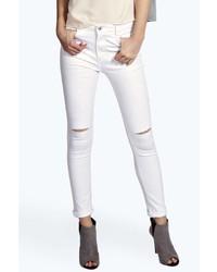 Boohoo Jess Mid Rise Skinny Rip Knee Jeans