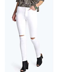 Boohoo Lara High Rise Ripped Knee Super Skinny Jeans