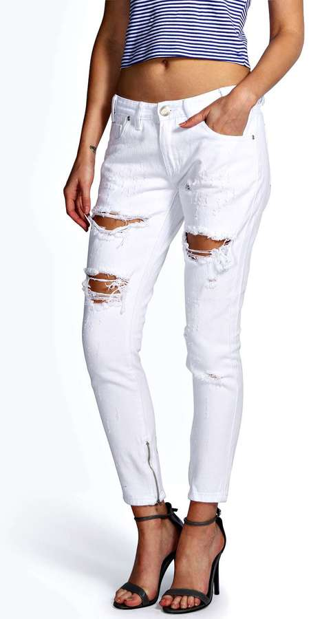 Boohoo Sara Relaxed Fit Open Leg Zip Boyfriend Jeans | Where to ...