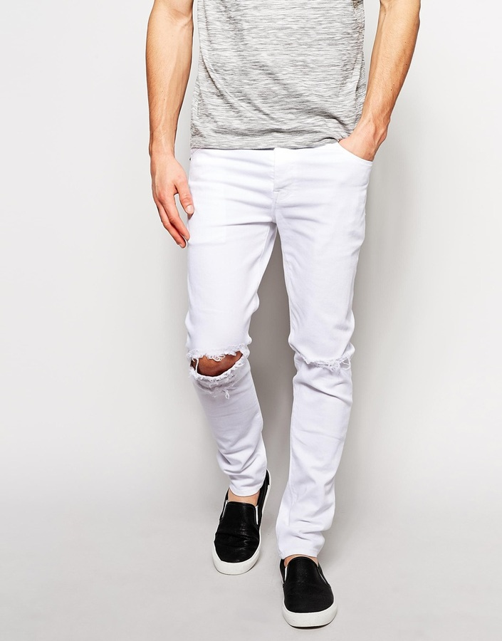 3acab76d171 ... White Ripped Skinny Jeans Asos Brand Skinny Jeans With Knee Rips ...