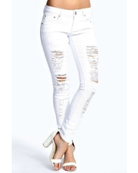 Boohoo Carly White Ripped Jeans