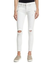 Hudson Roe Mid Rise Super Skinny Ankle Jeans With Ripped Knees Strife 2