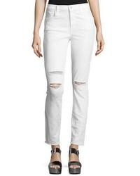 J Brand Maria High Rise Distressed Skinny Jeans With Raw Hem White Mercy