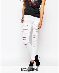 Asos Liquor N Poker Liquor Poker Low Rise Skinny Jeans With All Over Rips Shredded