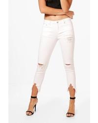 Boohoo Lois Pearl Detail Distressed Skinny Jeans