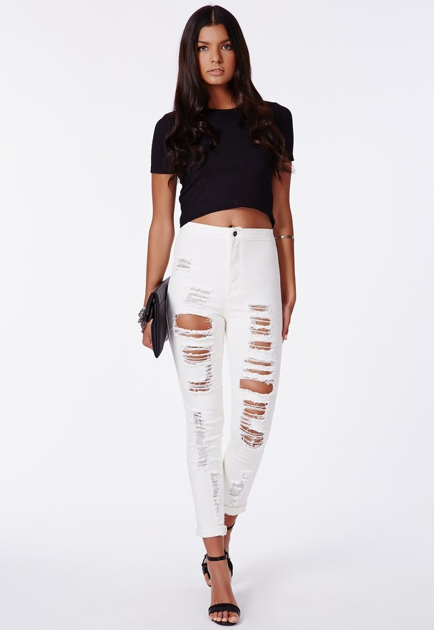 White Ripped Skinny Jeans: Missguided Brigitte High Waist ...