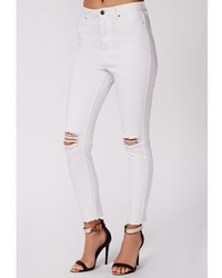Missguided Edie Ripped Knee Raw Hem Ankle Grazer Skinny Jeans ...
