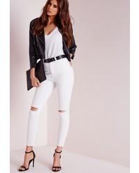 Missguided Edie Ripped Knee Raw Hem Ankle Grazer Skinny Jeans White