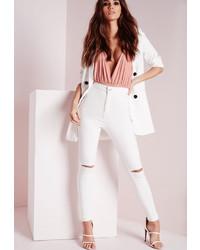 Missguided High Waisted Slash Knee Skinny Jeans White