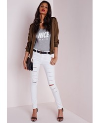 524a3f5c0f8 Missguided Edie Ripped Knee Raw Hem Ankle Grazer Skinny Jeans White Out of  stock · Missguided Mid Rise Multi Ripped Skinny Jeans White