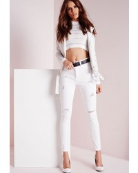 Missguided Sinner High Waisted Ripped Skinny Jean White